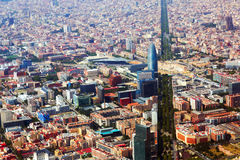 Barcelona with Avenue Diagonal  from helicopter.   Spain Stock Photos