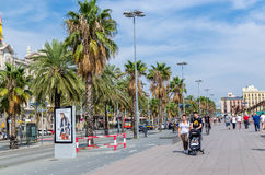 Barcelona avenue palm trees. Barcelona littoral avenue with tourists and palm trees stock photos