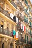 Barcelona balconies with laundry Royalty Free Stock Photos