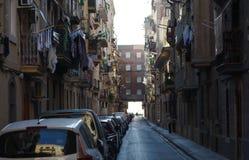 Barcelona Barcelonetta quarter empty morning street view. Royalty Free Stock Photos