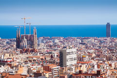 Barcelona with Basilica and Expiatory Church of the Holy Family Royalty Free Stock Photography