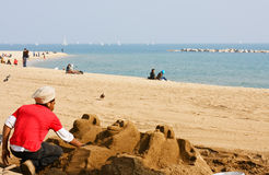 At Barcelona beach Royalty Free Stock Photos