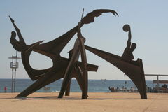 Barcelona beach. Monument on barcelona beach modern sculpture bronze Royalty Free Stock Image