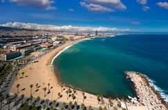 Barcelona beach and barcelona city. On day light and summer from roof top of hotel, Barcelona, Spain Royalty Free Stock Images