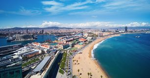 Barcelona beach and barcelona city. On day light and summer from roof top of hotel, Barcelona, Spain Royalty Free Stock Image