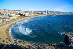 Barcelona beach (Barceloneta). Barcelona beach (Barceloneta area) and city, Spain Stock Image