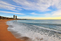 Barcelona beach. In Barceloneta district Stock Images