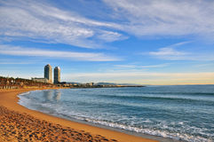 Barcelona beach. In Catalonia, Spain Royalty Free Stock Photos