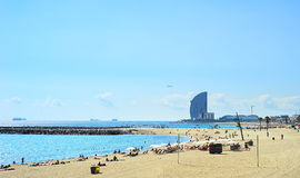 Barcelona beach. Barcelona city beach. 400 meters long, it is one of 10 best urban beaches of the world Royalty Free Stock Image