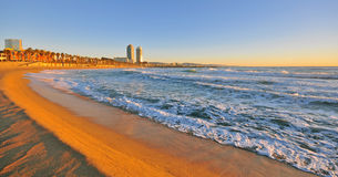 Barcelona beach. At the dawn Stock Images