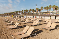 Barcelona beach in morning, Spain. Stock Images