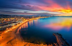 Barcelona beach on morning sunrise. With Barcelobna city and sea from the roof top of Hotel, Spain Stock Photo