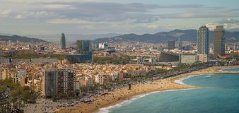 Barcelona beach on morning sunrise. With Barcelobna city and sea from the roof top of Hotel, Spain Stock Photos