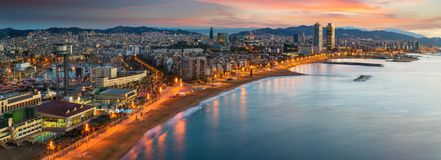Barcelona beach on morning sunrise. With Barcelobna city and sea from the roof top of Hotel, Spain Royalty Free Stock Photo