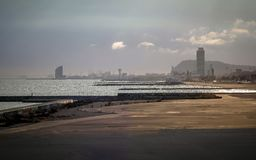 Barcelona beach on morning sunrise with sea and bay area on the. Shore royalty free stock image