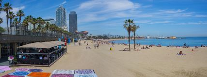 Barcelona Beach Panorama. With Frank Gehry golden fish sculpture Stock Photos
