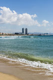 Barcelona beach panorama, Spain Royalty Free Stock Images