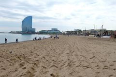 Barcelona beach. Barcelona sand beach, Spain Stock Image