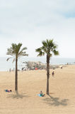 Barcelona beach sunbathers in Summer, Spain Royalty Free Stock Photography