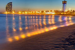 Barcelona beach after sunset Royalty Free Stock Photos