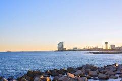Barcelona Beach at sunset Platja Nova Icaria or Barceloneta. View Royalty Free Stock Photos