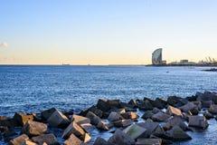 Barcelona Beach at sunset Platja Nova Icaria or Barceloneta. View Royalty Free Stock Image