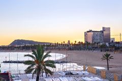 Barcelona Beach at sunset Platja Nova Icaria or Barceloneta view Stock Photo