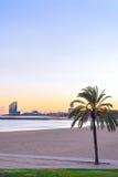 Barcelona Beach at sunset Platja Nova Icaria or Barceloneta view. Beautiful Barcelona Beach at sunset Platja Nova Icaria or Barceloneta view Stock Photo