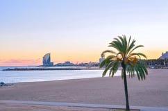 Barcelona Beach at sunset Platja Nova Icaria or Barceloneta view. Beautiful Barcelona Beach at sunset Platja Nova Icaria or Barceloneta view Stock Photography