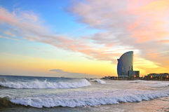 Barcelona beach on sunset Stock Photos
