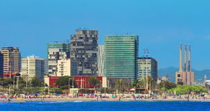 Barcelona beach. Timelapse of Barcelona city beach view. Resort at Spain. Travel destination. Time lapse of mediterranean coast in Barcelona at sunny day stock video footage