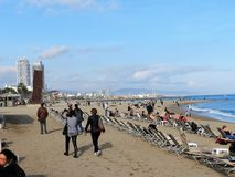 Barcelona beach. View of barcelona beach at barceloneta Royalty Free Stock Photo