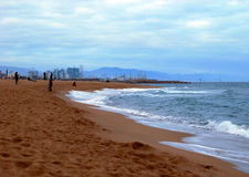 Barcelona beach in winter. Barceloneta beach in winter twilight stock images