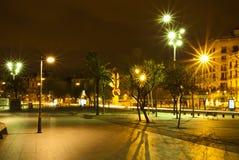 Barcelona bij Nacht Stock Afbeelding