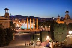Barcelona bij nacht Stock Foto
