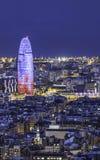 Barcelona bij nacht Royalty-vrije Stock Afbeelding