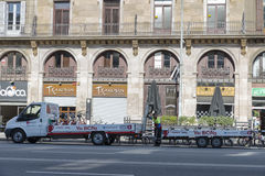 Barcelona bike sharing service van Royalty Free Stock Photos