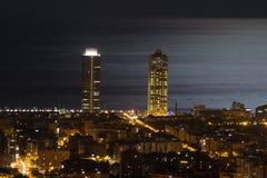 Barcelona bis zum Nacht Stockbilder