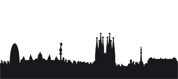 Barcelona Black Silhouette Vector Stock Photo