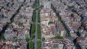 Barcelona blockiert Muster und Hauptstraßevogelperspektive, Spanien Lizenzfreie Stockfotografie