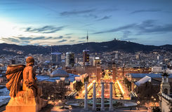 Barcelona at the blue hour, Spain Royalty Free Stock Photography