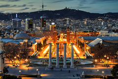 Barcelona at the blue hour, Spain Stock Photos