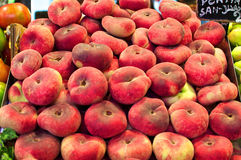 Barcelona Boqueria. Peaches on the market Royalty Free Stock Photo