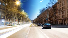 Barcelona boulevard, day and night Royalty Free Stock Photos