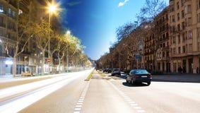 Barcelona boulevard, day and night Royalty Free Stock Photos