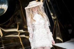 BARCELONA BRIDAL FASHION WEEK - YOLAN CRIS CATWALK Royalty Free Stock Images