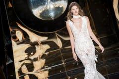 BARCELONA BRIDAL FASHION WEEK - YOLAN CRIS CATWALK. BARCELONA, SPAIN - APRIL 27, 2016: Yolan Cris catwalk during Barcelona Bridal Fashion Week stock photos