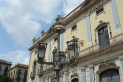 Barcelona building. Barcelona city building with street lighting Royalty Free Stock Images