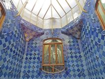 Barcelona buildings streets and Antoni Gaudi city beauty. Spring vacation. Sun. Art. Catalonia. Spain Royalty Free Stock Photography