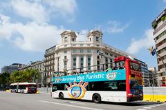 Barcelona Bus. Street in Barcelona,and Tourist Bus Stock Photos